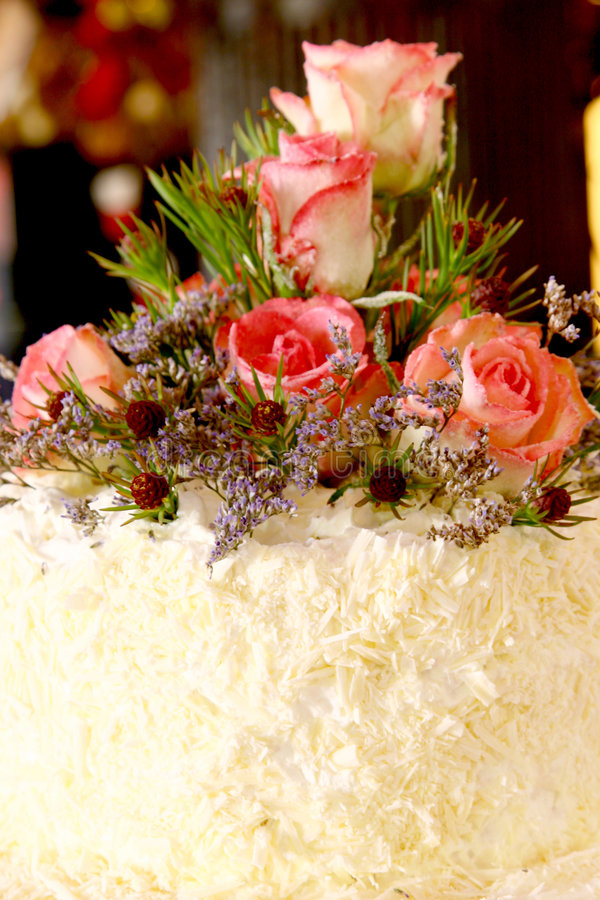 Rose Cake. A wedding cake with roses on it stock photography