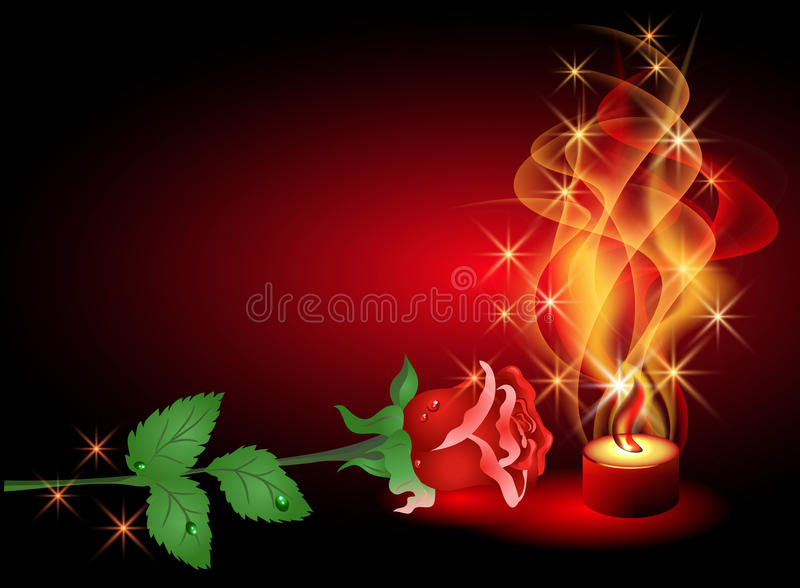 Rose and candle. Rose and a burning candle royalty free illustration