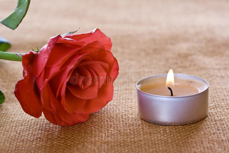 Rose and candle royalty free stock photos