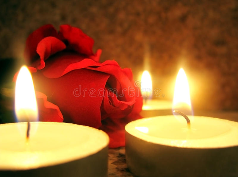 Rose And Candles Stock Photo