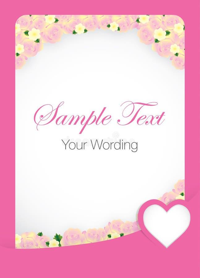 Rose Card Template rosada ilustración del vector