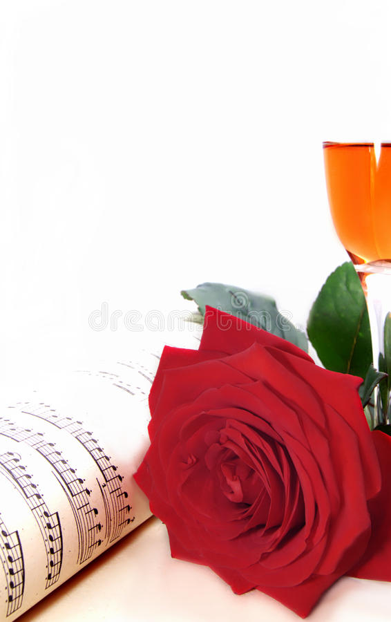 Rose, champán y música imagen de archivo