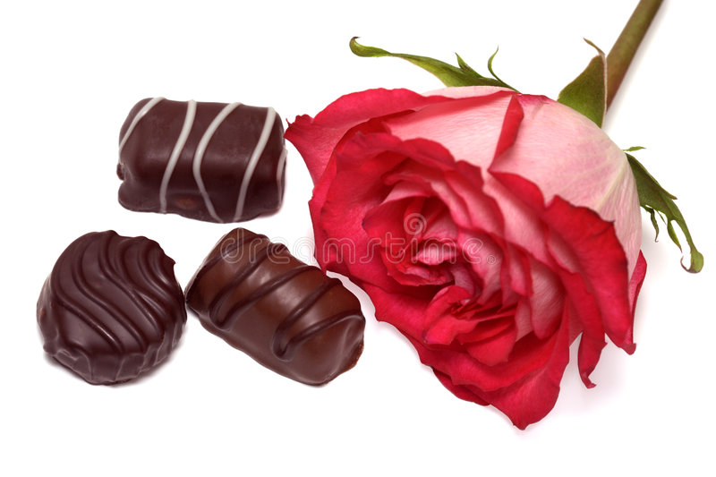 Rose and chocolate stock photography