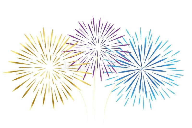 Rose coloré et bleu d'or de feux d'artifice d'isolement sur le fond blanc illustration de vecteur