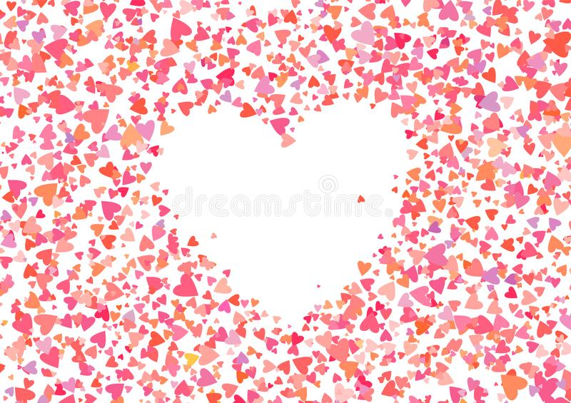 Rose color confetti with heart shapes. Romance pink background for Valentines Day,. Wedding invitation. Line art vector illustration