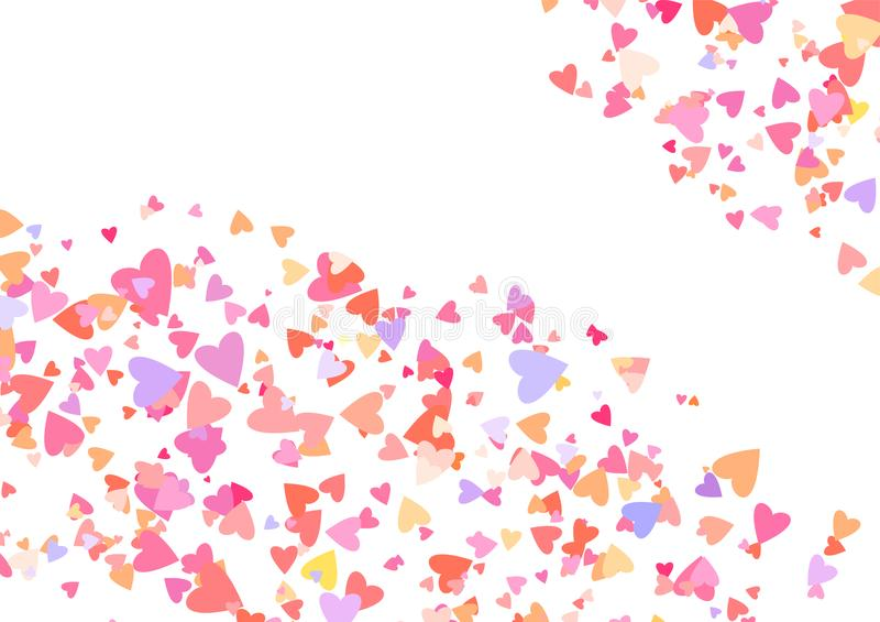 Rose color confetti with heart shapes. Romance pink background for Valentines Day,. Wedding invitation. Line art stock illustration