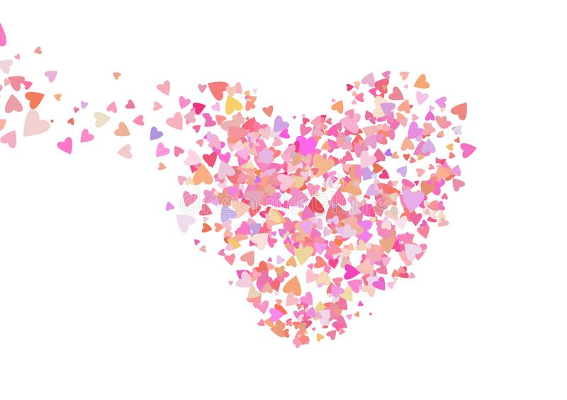 Rose color confetti with heart shapes. Romance pink background for Valentines Day,. Wedding invitation. Line art royalty free illustration