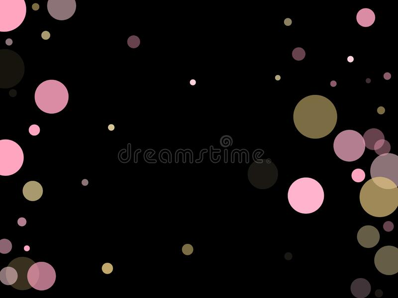 Rose color pink gold fashionable party confetti. Pink gold confetti circle decoration for Christmas poster background. Bokeh lights effect vector. Gold, pink and royalty free illustration