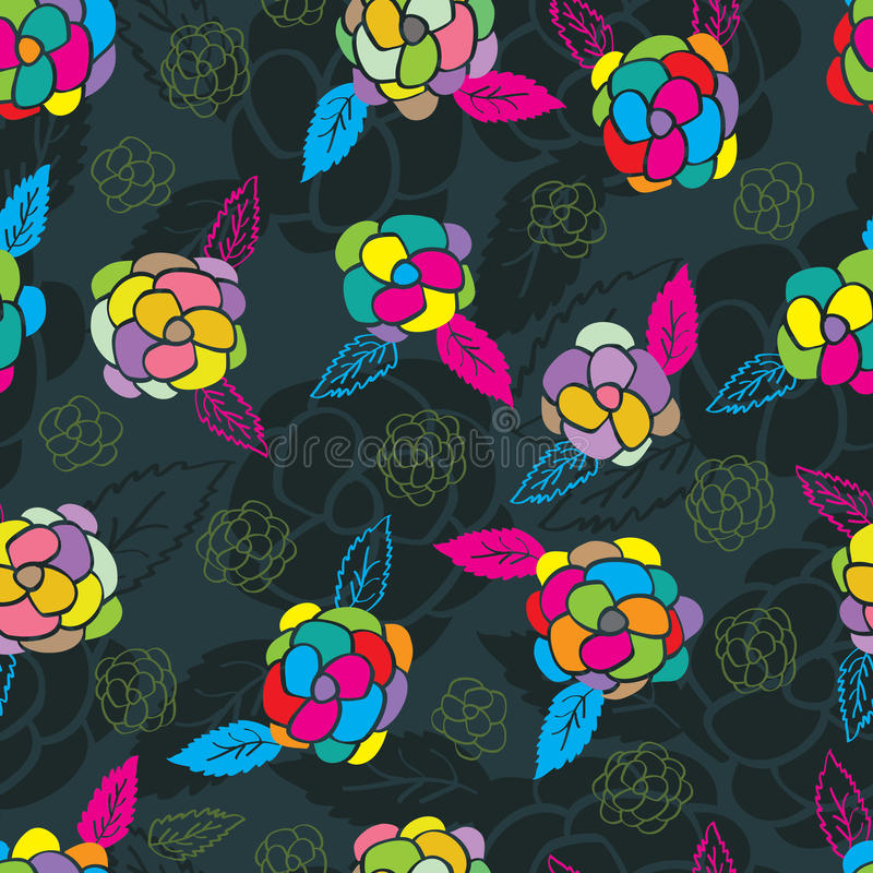Rose Colorful Seamless Pattern vector illustratie