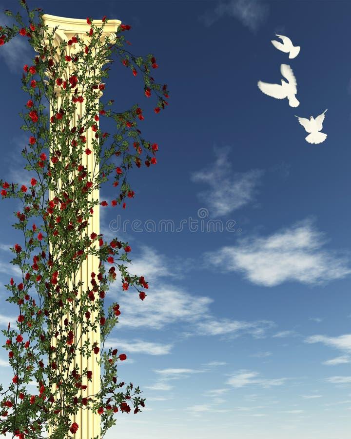 Rose Column with White Doves stock illustration