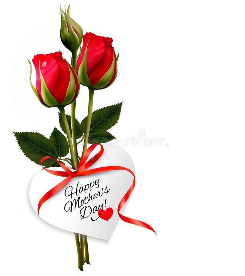 Rose con la carta di regalo felice di festa della Mamma illustrazione vettoriale