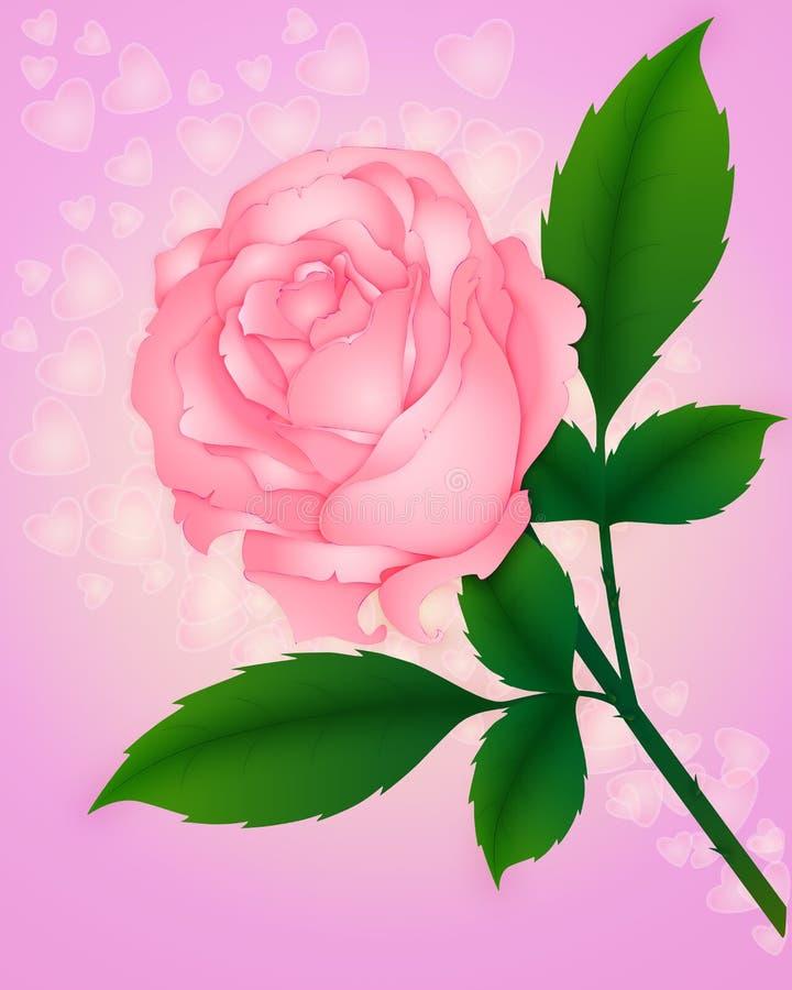 Rose con los corazones ilustración del vector