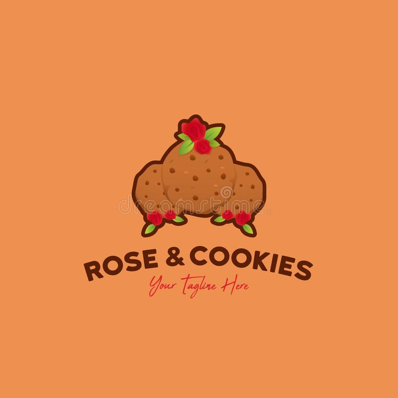 Rose and cookies logo icon illustration of delicious three cookies with fresh red rose flower vector illustration