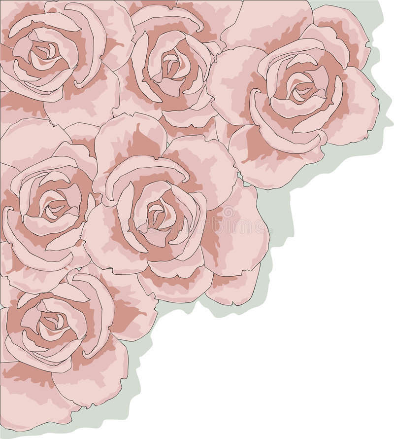 Rose Corner. Corner of Roses for easy layout. Valentine's Day, Mother's Day, Grandparents' Day, Weddings Large JPG 300 dpi - about 15 x 15 vector illustration