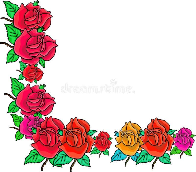 Rose Corner Border vector illustration