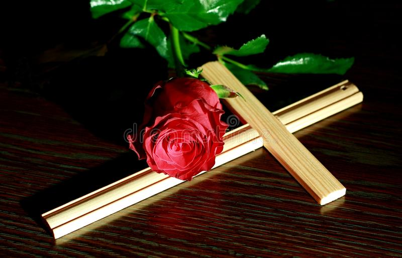 Rose and Cross royalty free stock photography