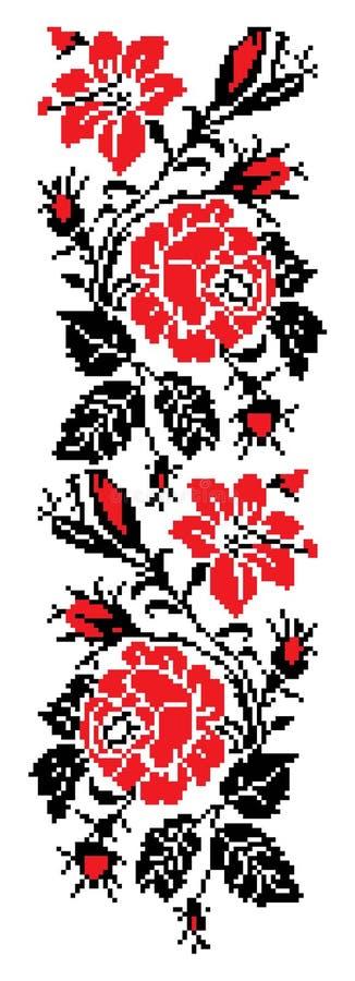 Rose cross stitch pattern stock illustration