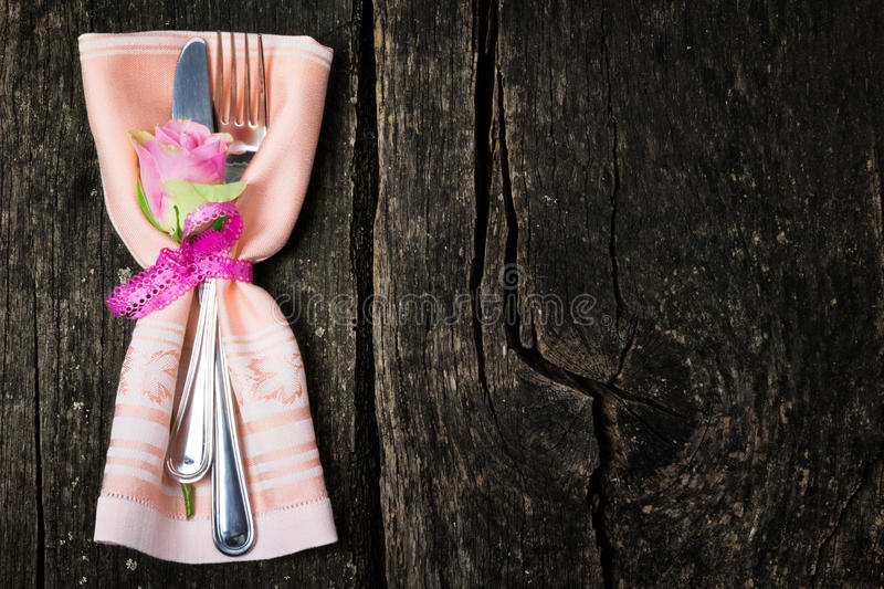 Rose and cutlery royalty free stock photo