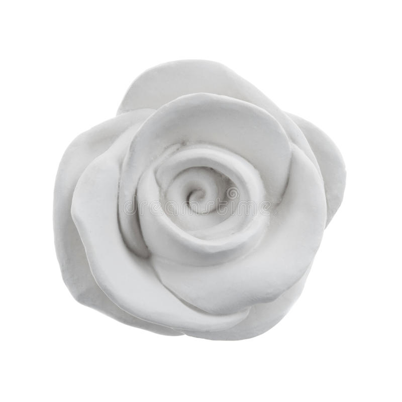 Rose décorative de blanc de gypse d'isolement images stock