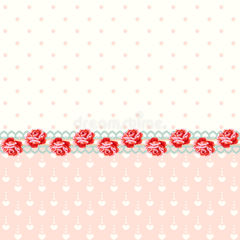 Rose d'annata con i pois illustrazione di stock
