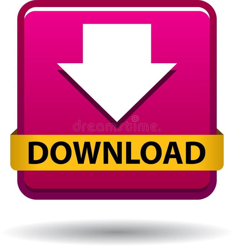 Rose d'icône de Web de bouton de téléchargement illustration libre de droits