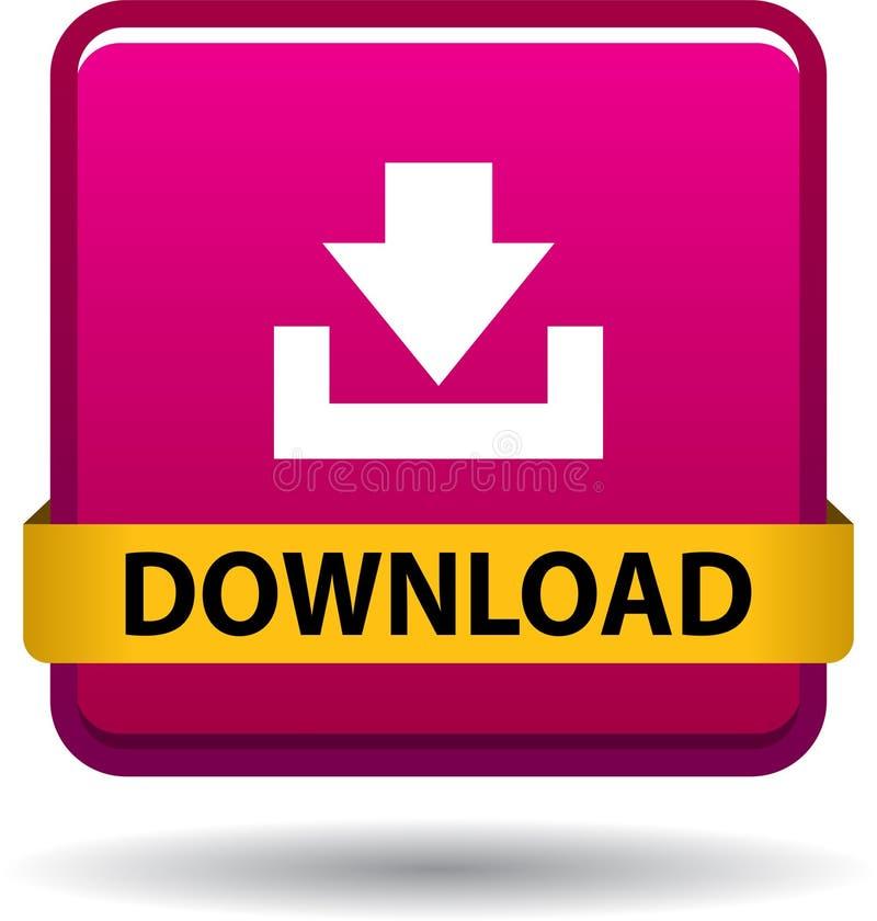 Rose d'icône de Web de bouton de téléchargement illustration de vecteur