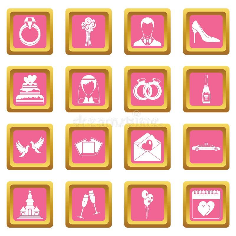 Rose d'icônes de mariage illustration de vecteur