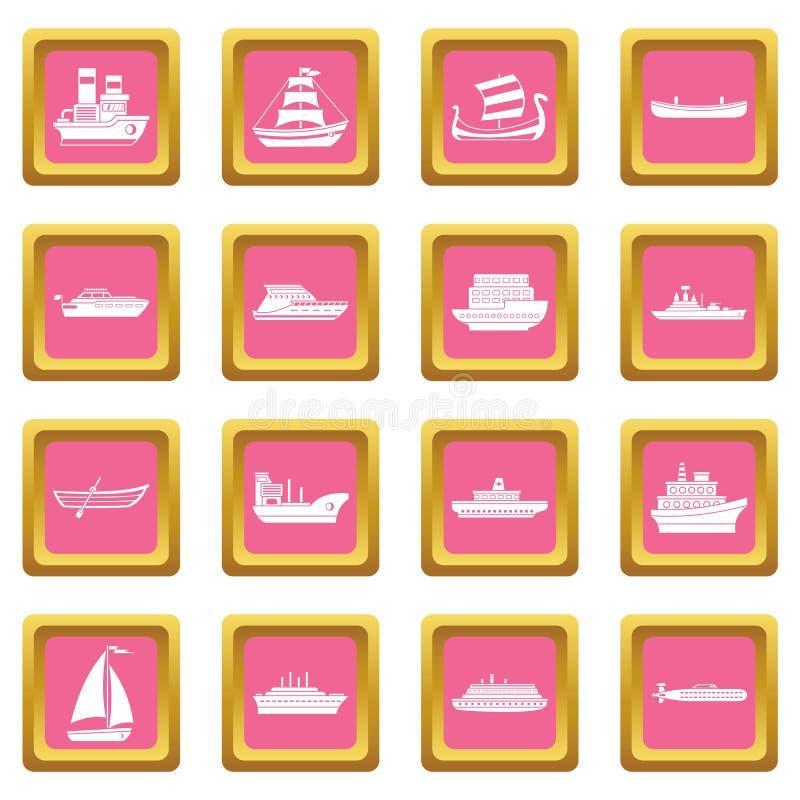 Rose d'icônes de transport maritime illustration libre de droits