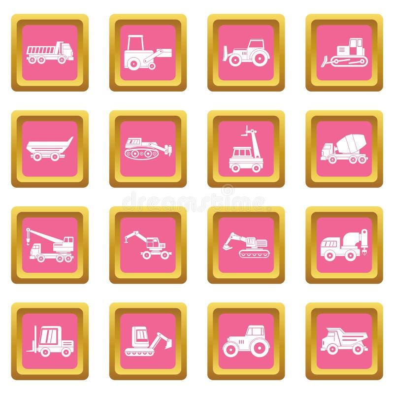 Rose d'icônes de véhicules de bâtiment illustration de vecteur