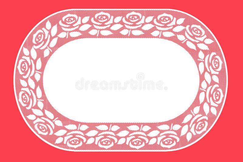 Rose d'ovale et tapis d'endroit de dentelle de feuilles illustration libre de droits