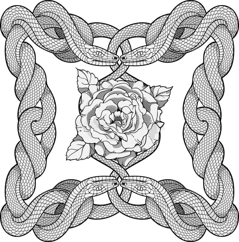 Rose dans un cadre fait de quatre serpents illustration stock