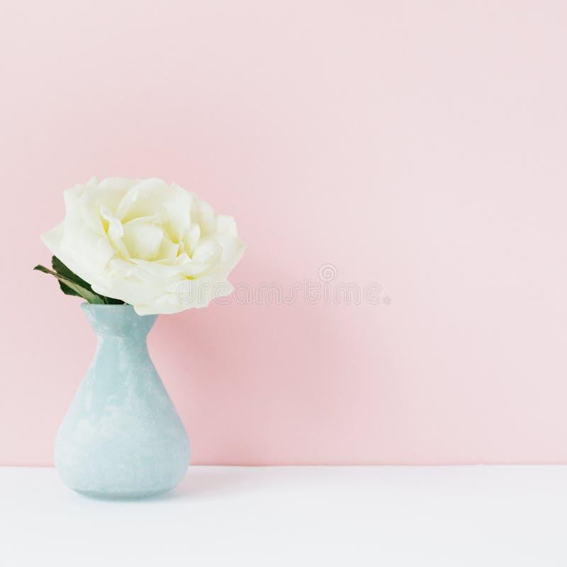 Rose de blanc dans le vase bleu devant le fond pâle de rose en pastel Toujours la vie minimalistic dénommée image libre de droits