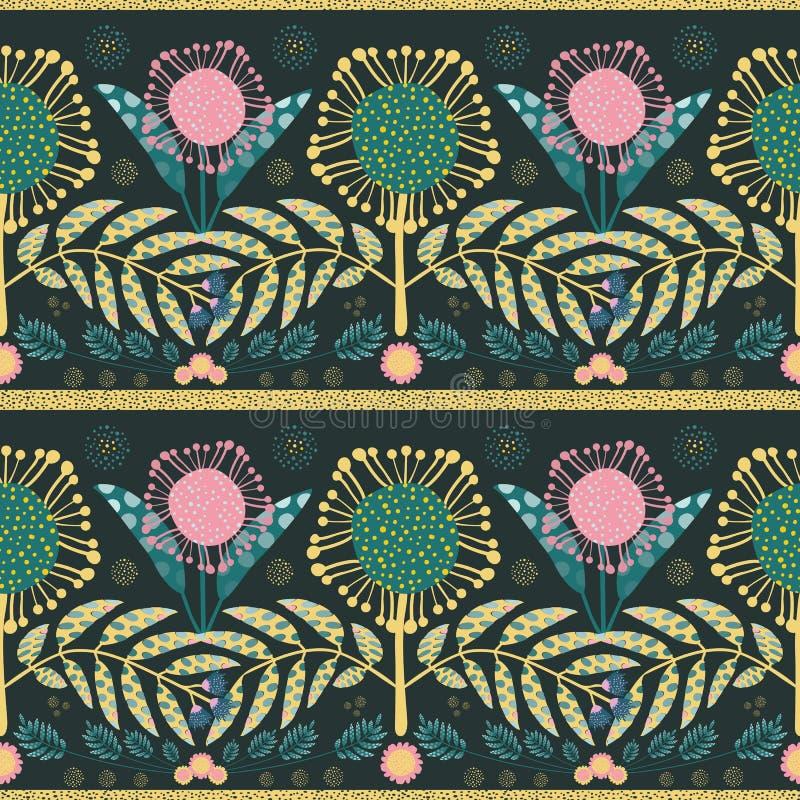 Rose de Boh?me de style, fleurs d'or et feuilles de sarcelle d'hiver Effet coup? de papier sur des feuilles Configuration g?om?tr photographie stock