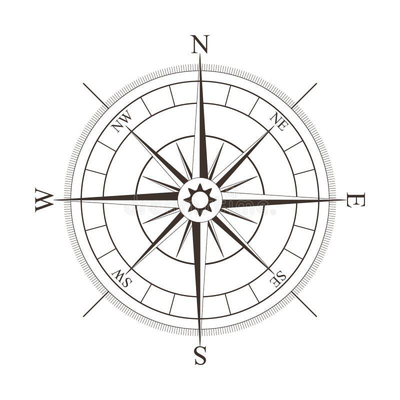Rose de boussole noire d'isolement sur le blanc illustration stock
