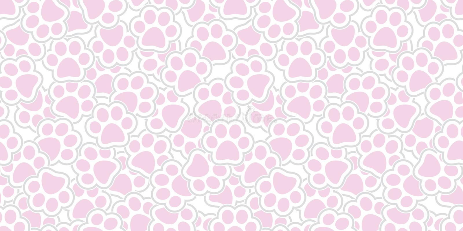 Rose de fond de répétition de papier peint d'isolement par copie de pied de patte de chat de vecteur de Paw Seamless Pattern de c illustration de vecteur