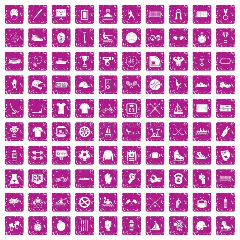 100 rose de grunge réglé d'équipe de sport par icônes illustration de vecteur