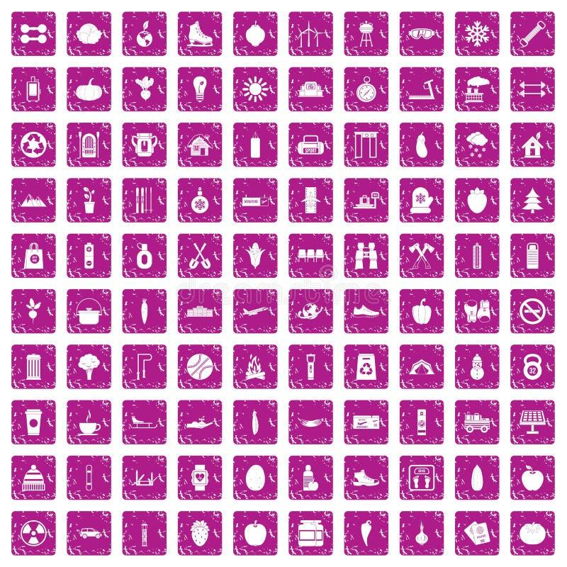 100 rose de grunge réglé de mode de vie par icônes saines illustration de vecteur