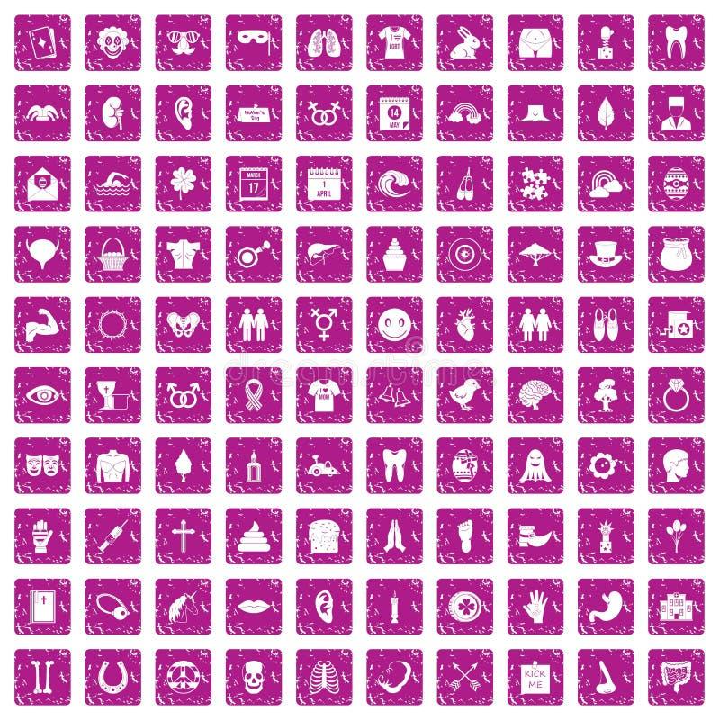100 rose de grunge réglé de vacances de ressort par icônes illustration stock