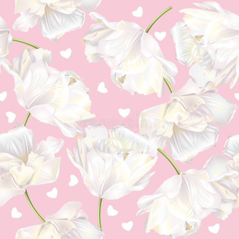 Rose de modèle de coeurs de tulipe illustration libre de droits