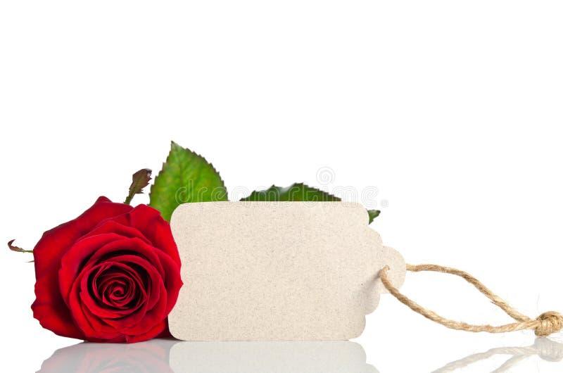 Rose de rouge avec l'Empty tag pour le texte photos stock