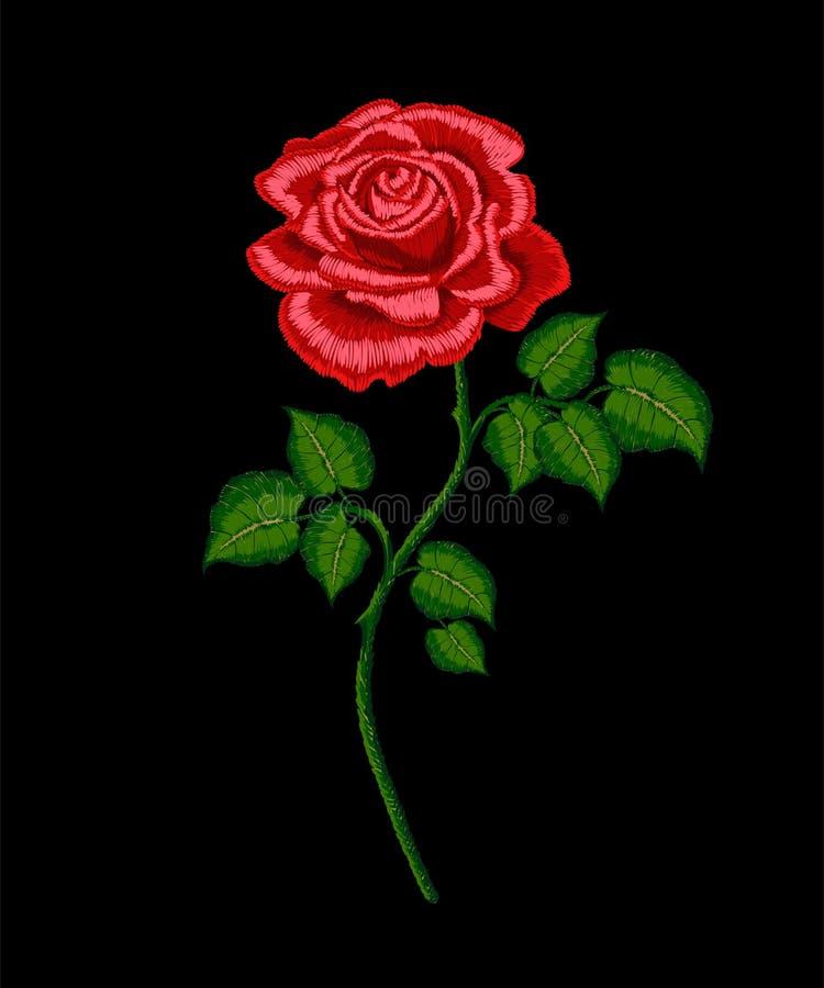 Rose de rouge de broderie de vecteur de tige illustration libre de droits