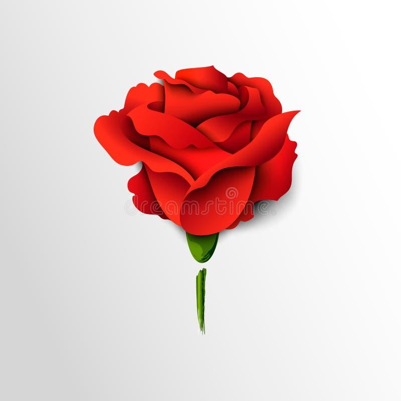 Rose de rouge coupée du papier illustration stock