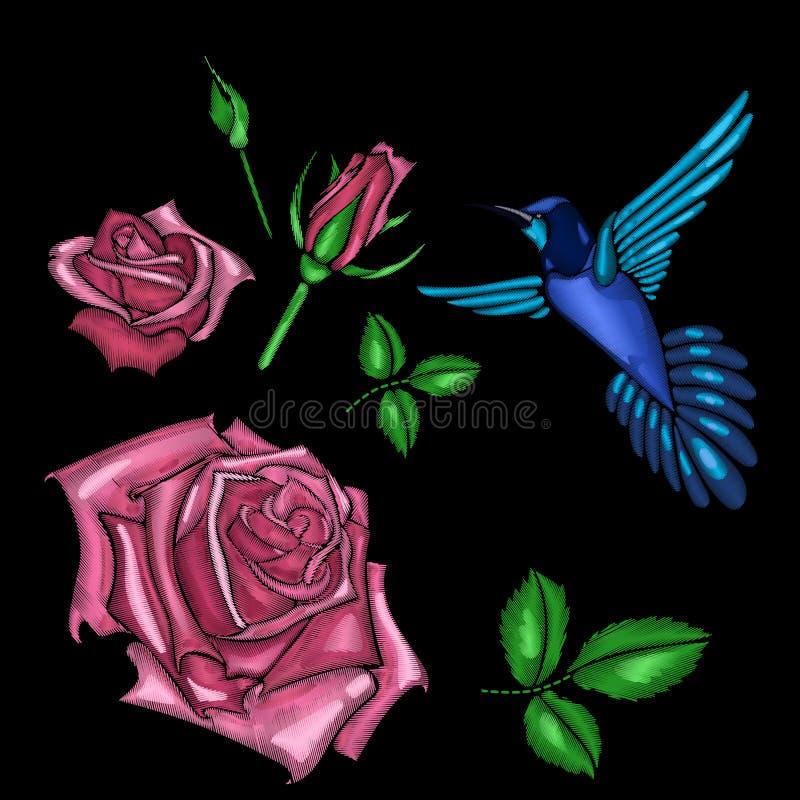 Rose de rouge et broderie d'oiseau illustration libre de droits