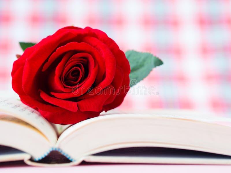 Rose de rouge sur le livre ouvert photos stock