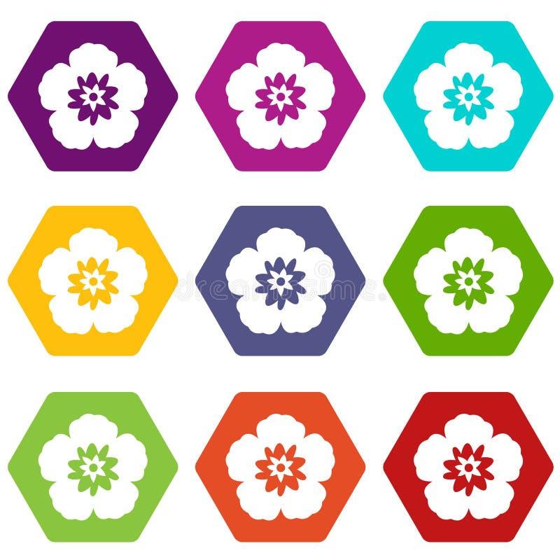 Rose de Sharon, hexahedron réglé de couleur d'icône coréenne de fleur illustration stock