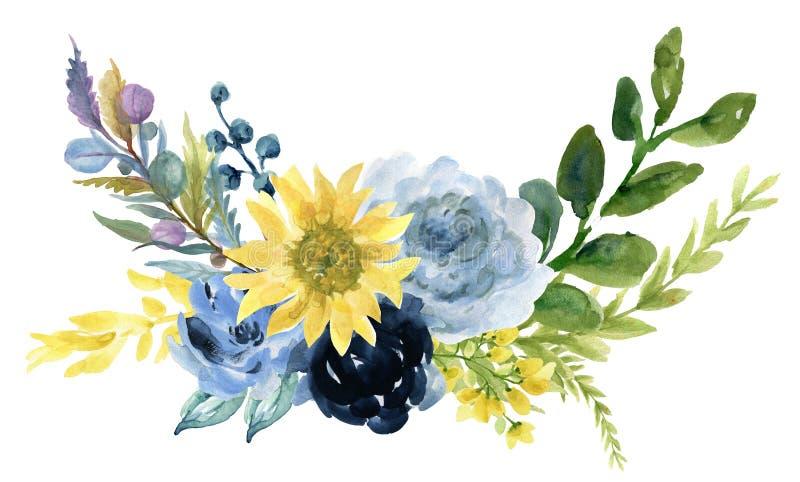 Rose de tournesol de cru d'aquarelle de pivoine de fleur rose florale de Gerbera et d'abstact ou de composition en feuilles et ma illustration libre de droits