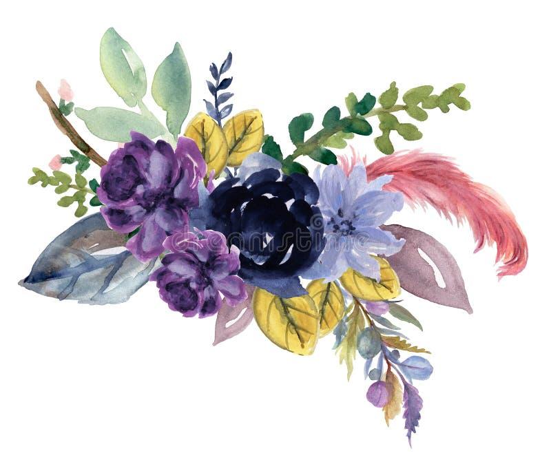 Rose de tournesol de cru d'aquarelle de pivoine de fleur rose florale de Gerbera et d'abstact ou de composition en feuilles et ma illustration de vecteur