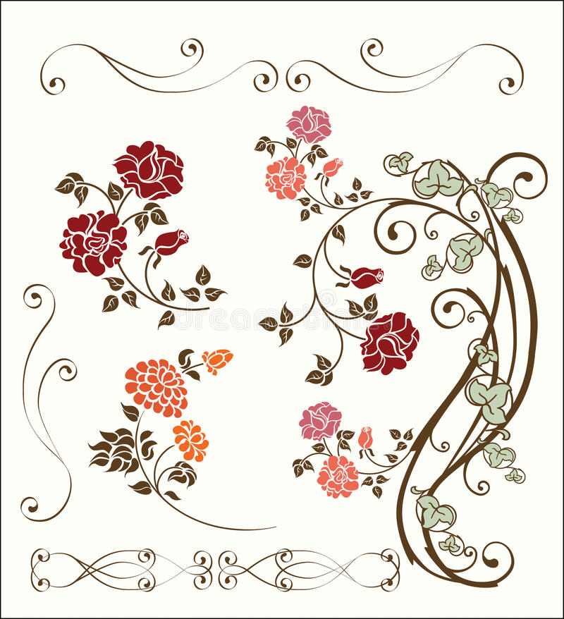 Rose decoration set royalty free illustration