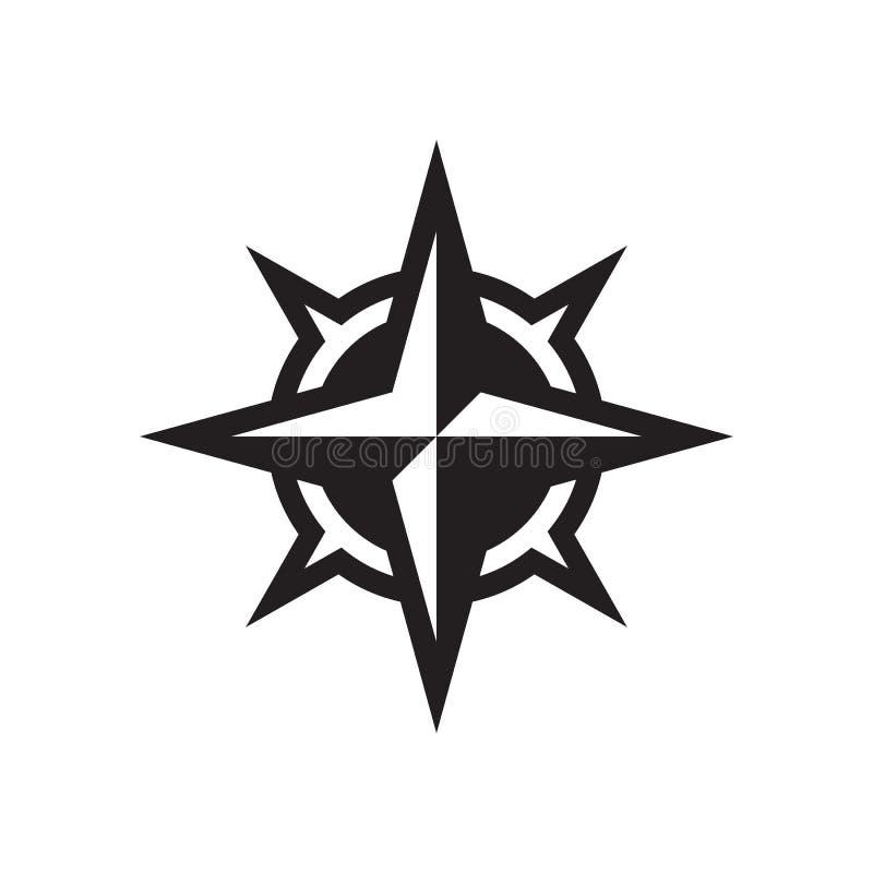 Rose del viento - icono negro en el ejemplo blanco del vector del fondo para la página web, aplicación móvil, presentación, infog ilustración del vector