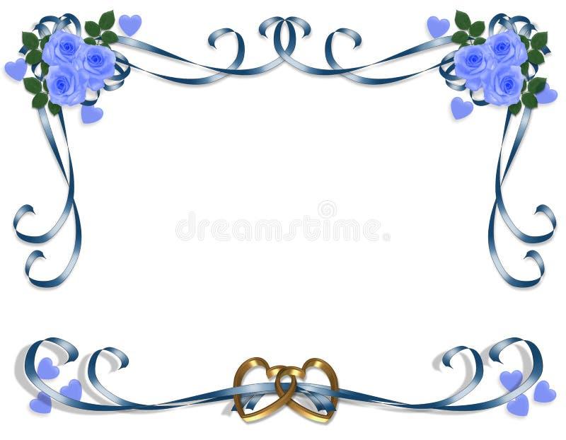 Rose dell'azzurro dell'invito di cerimonia nuziale illustrazione vettoriale